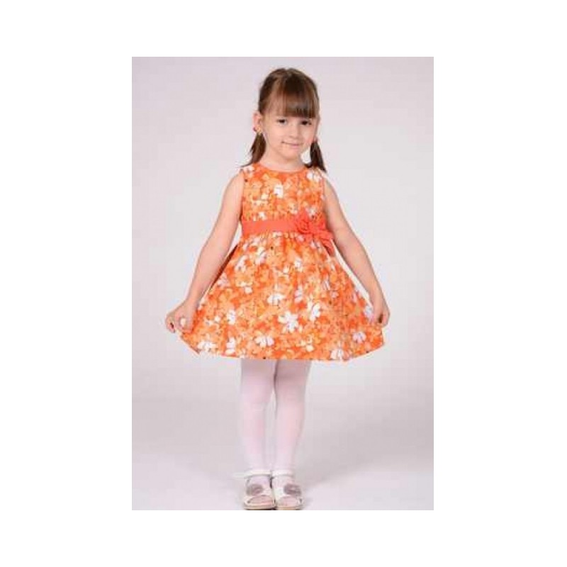 Rochie portocalie cu imprimeu floral
