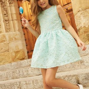 Rochie copii LOSAN dantela/turcoaz, marimi 8-16 ani