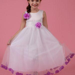 Rochie fete alba cu petale si floare violet, marimi 3-6 ani