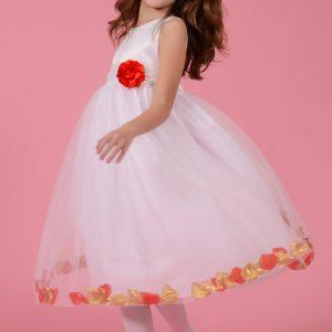 Rochie copii alba cu petale rosii si aurii, marimi 3-8 ani