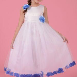 Rochie alba cu floare bleo si petale albastre, marime 3-10 ani
