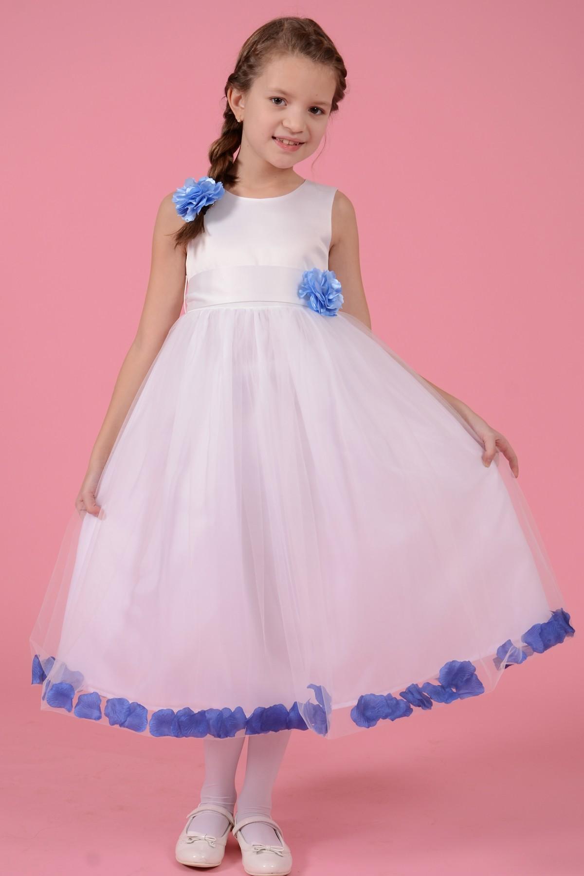 Rochie Alba Cu Floare Bleo Si Petale Albastre Marime 3 10 Ani