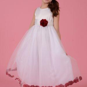 Rochie copii alba cu floare si petale grena, marimi 3-9 ani