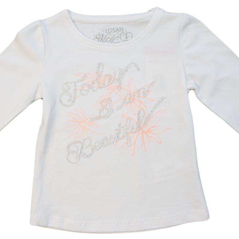 Bluza fete alba Losan, marimi 2-7 ani