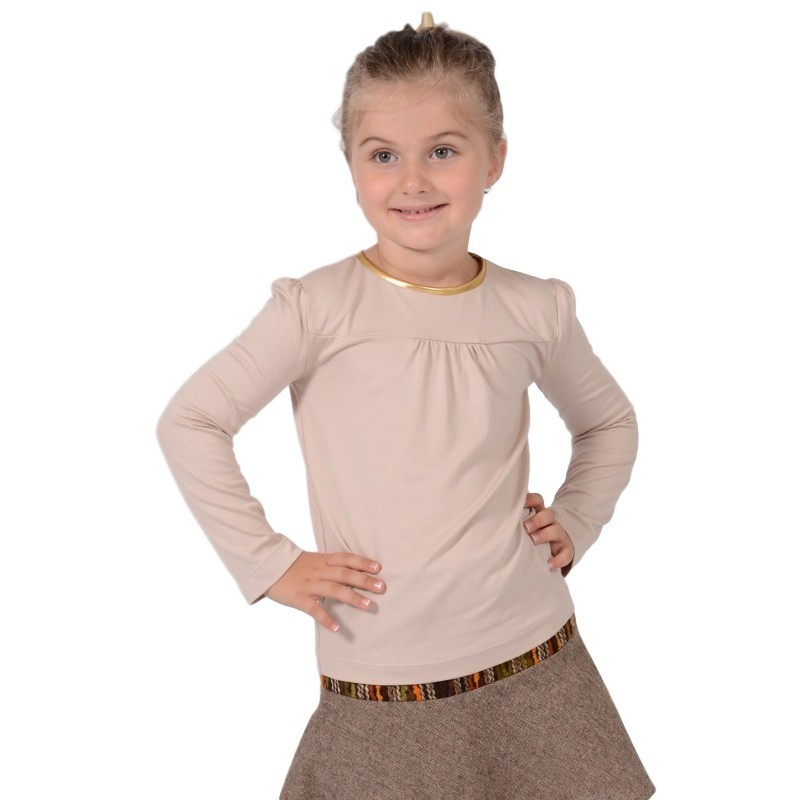 Bluza fete din tricot bej cu garnitura aurie, marimi 3-12 ani