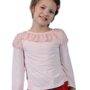 Bluza copii din tricot roz pal cu maneca lunga, marimi 3-12 ani