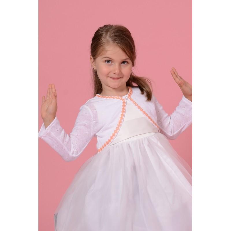 Bolero din tricot alb cu banda cu flori roz, marimi 3-10 ani