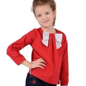 Camasa fete rosie cu funda alba, marimi 3-12 ani