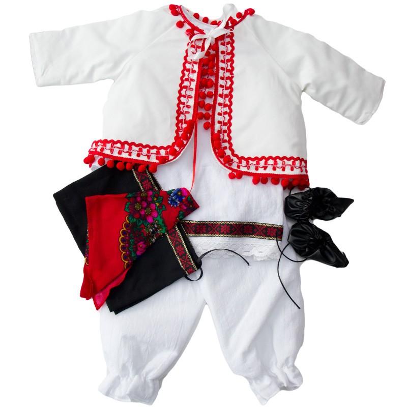 Costum popular fete pentru botez, marimi 3-6 luni