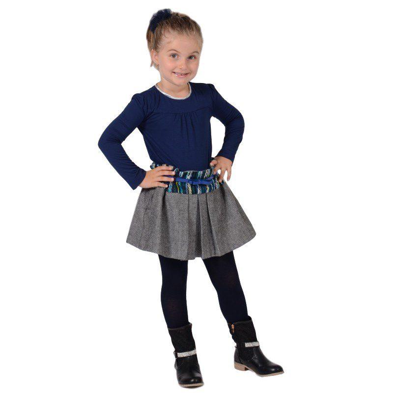 Fusta din stofa gri cu curea albastra, marimi 5-10 ani
