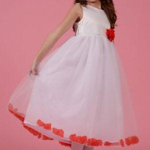 Rochie alba cu petale si floare rosie, marime 3 ani