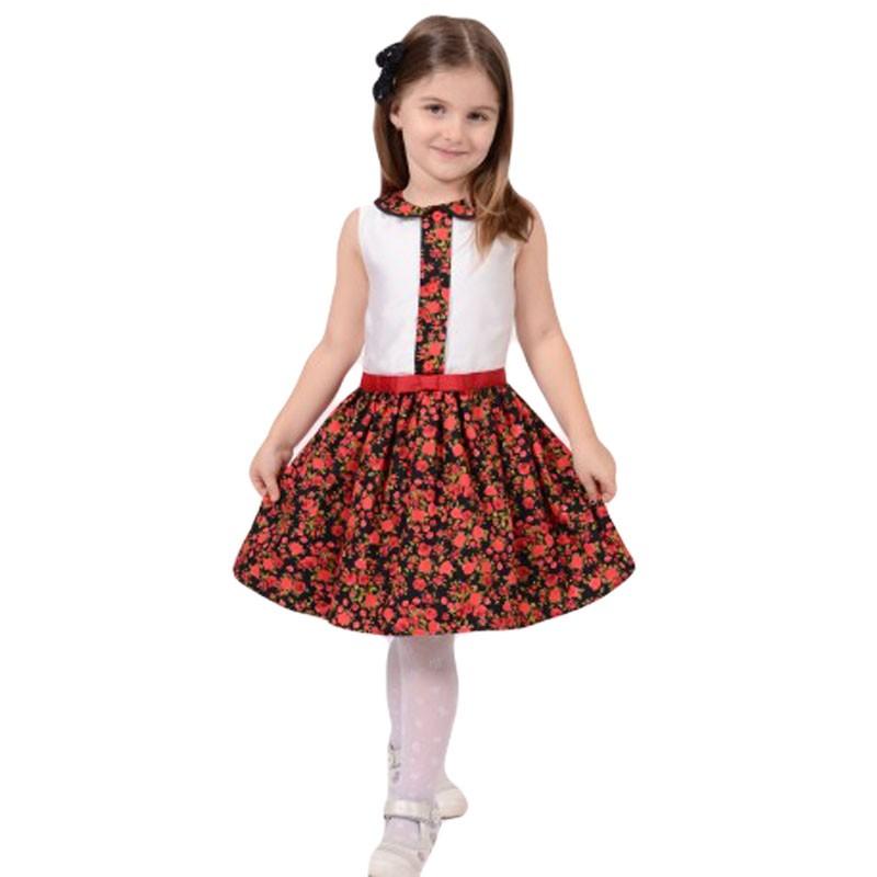 Rochie cu bust din satin ivory si fusta cu imprimeu floral, marimi 5,7 ani