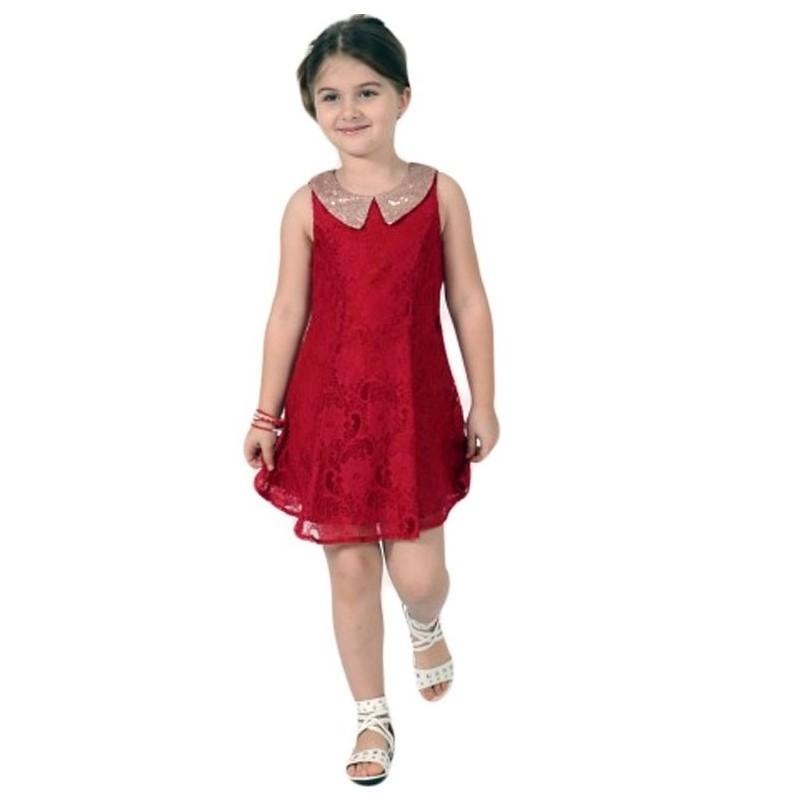 Rochie din dantela rosie cu guler cu paiete 4 ani