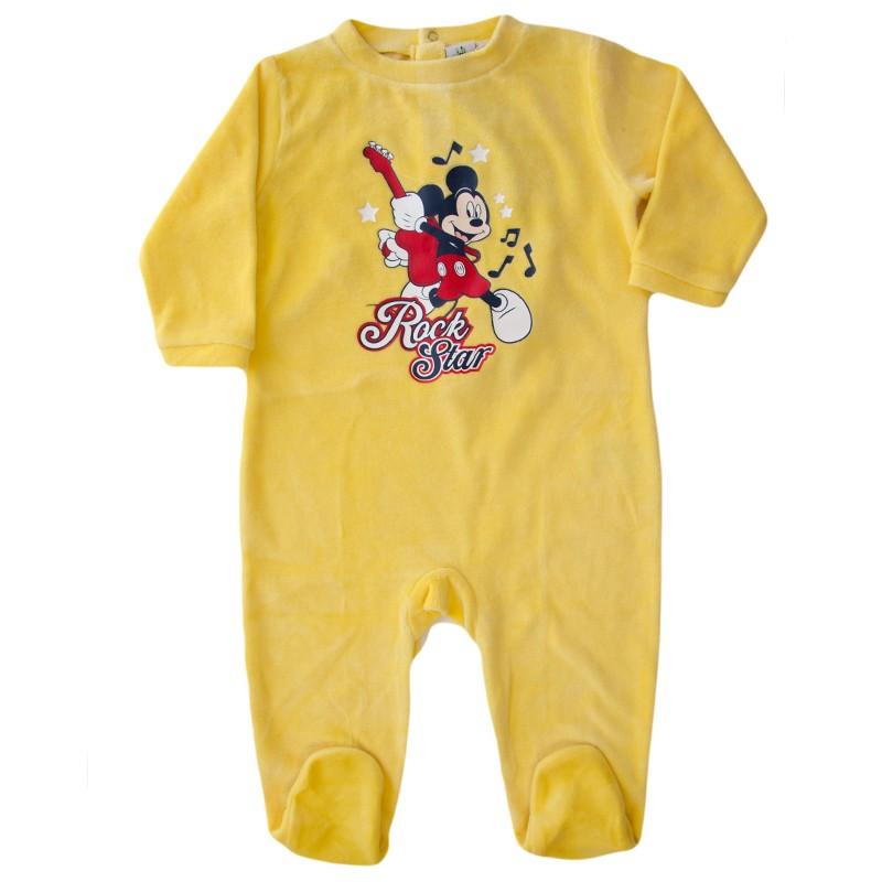 Salopeta copii Mickey galben, marime 18,23 luni