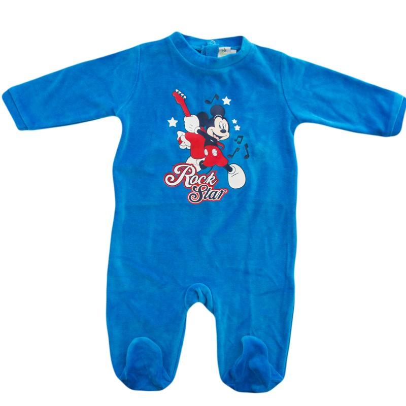 Salopeta copii Mickey albastru, marime 12 luni