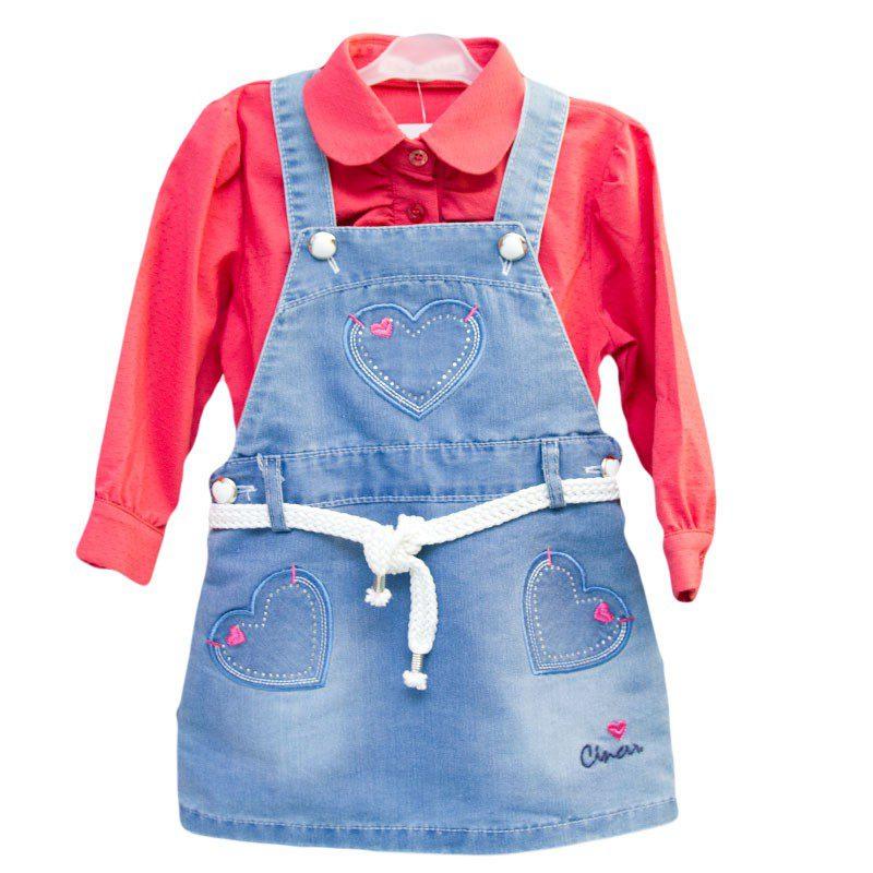 Sarafan fetite jeans, marimi 6-12 luni