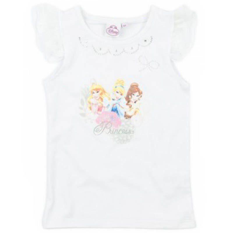 Tricou fete Princess alb, marimi 3-6 ani