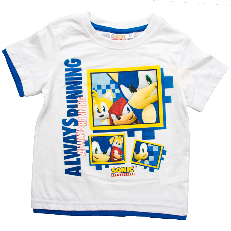 Tricou copii Sonic alb 3-8 ani