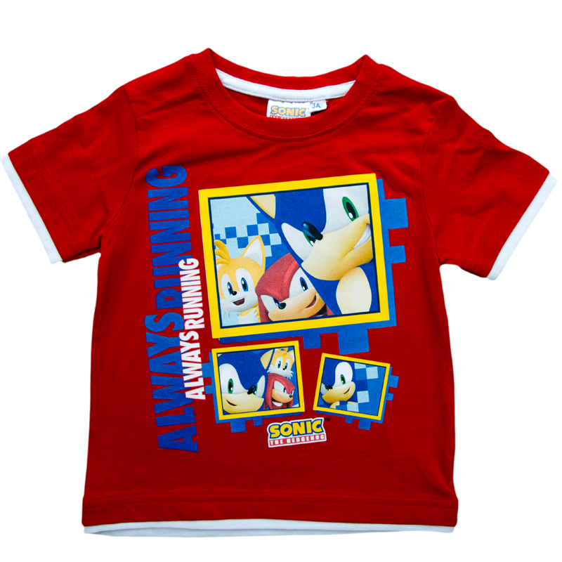 Tricou copii Sonic rosu 3-8 ani