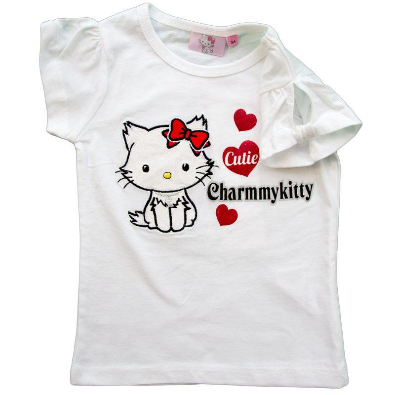 Tricou fete CharmmyKitty alb, marime 4 ani