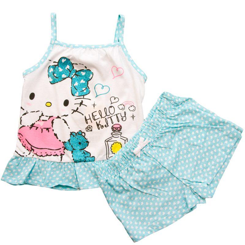 Pijama vara fete Hello Kitty turcoaz