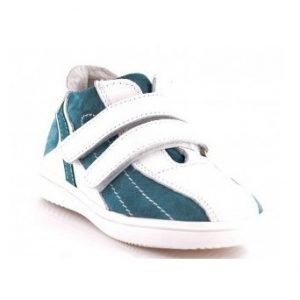 Adidasi copii piele alb turcoaz, marimi 21-25