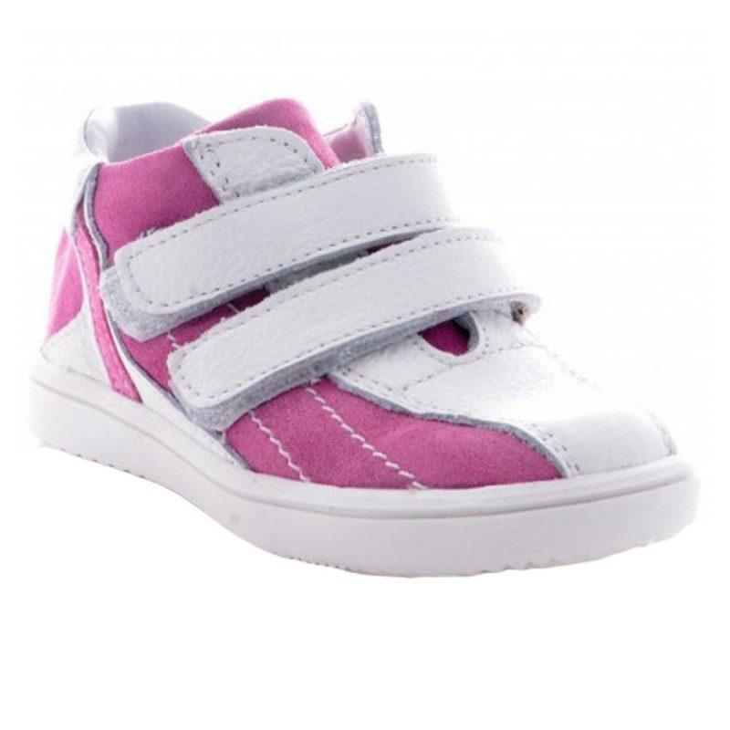 Adidasi fete piele alb roz, marimi 20-26