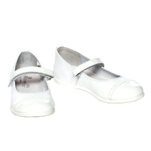 Pantofi fete piele Pj Shoes Cherry alb