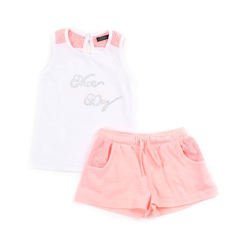 Compleu fetite vara Losan alb roz 2-6 ani