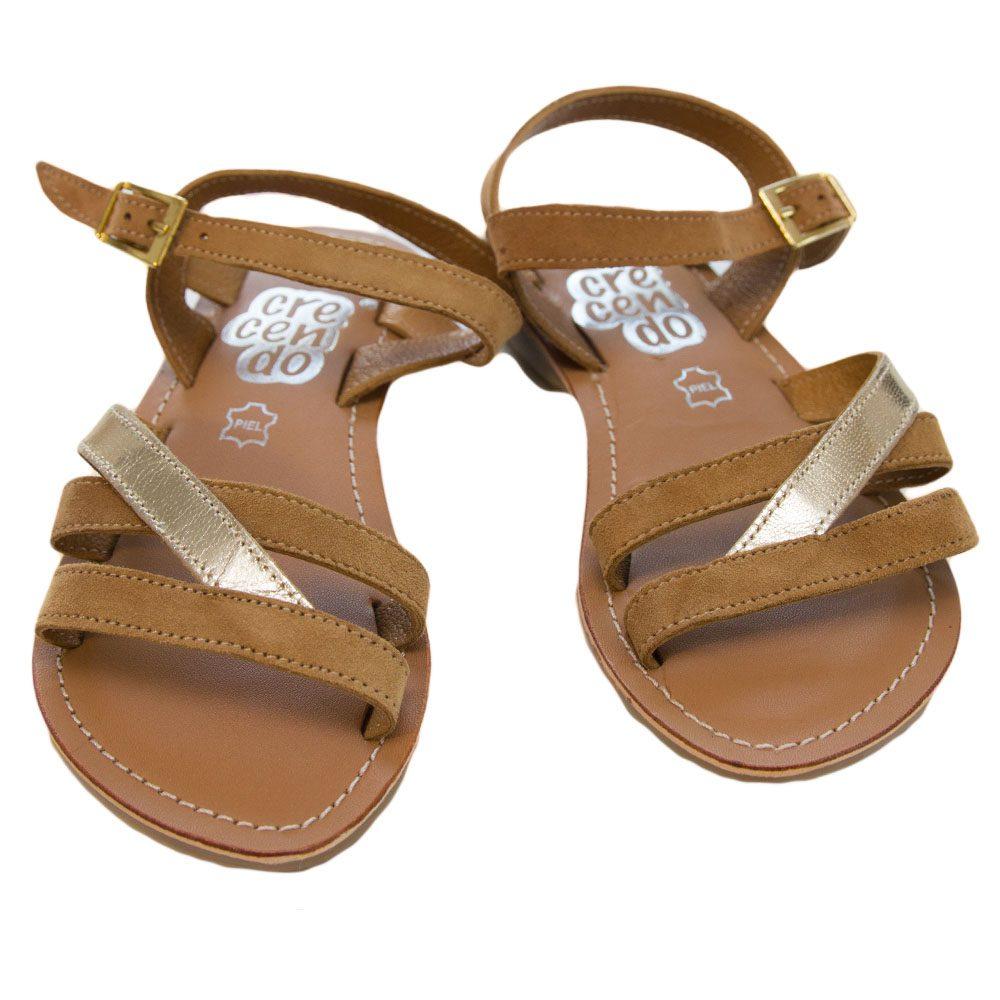 Sandale fete piele beig oro 30-38