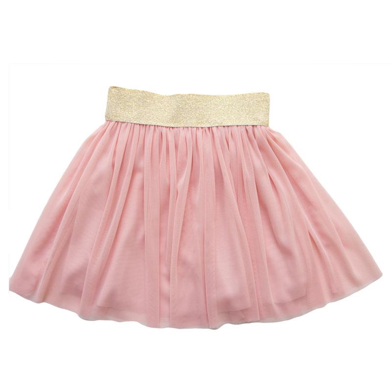 Fusta fetite roz cu banda elastica aurie