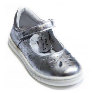 Pantofi fete din piele naturala argintii, marimea 25