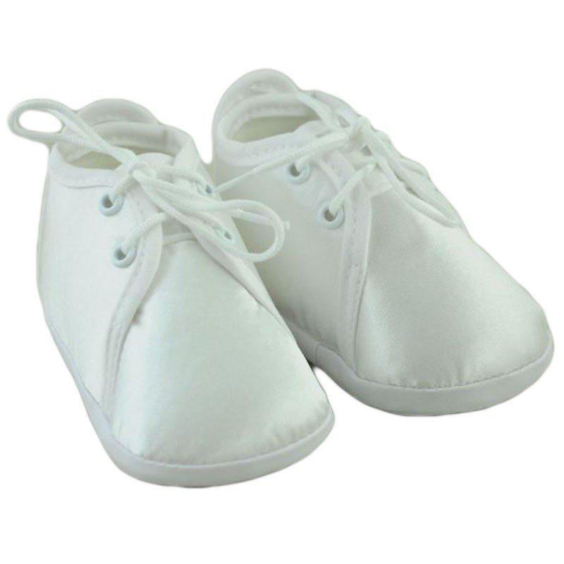 Pantofiori bebelusi cu siret alb si ivory