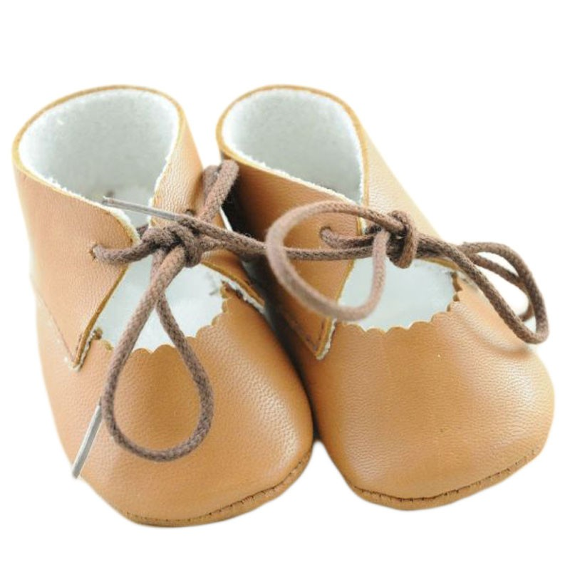 Pantofiori copii maro din piele naturala