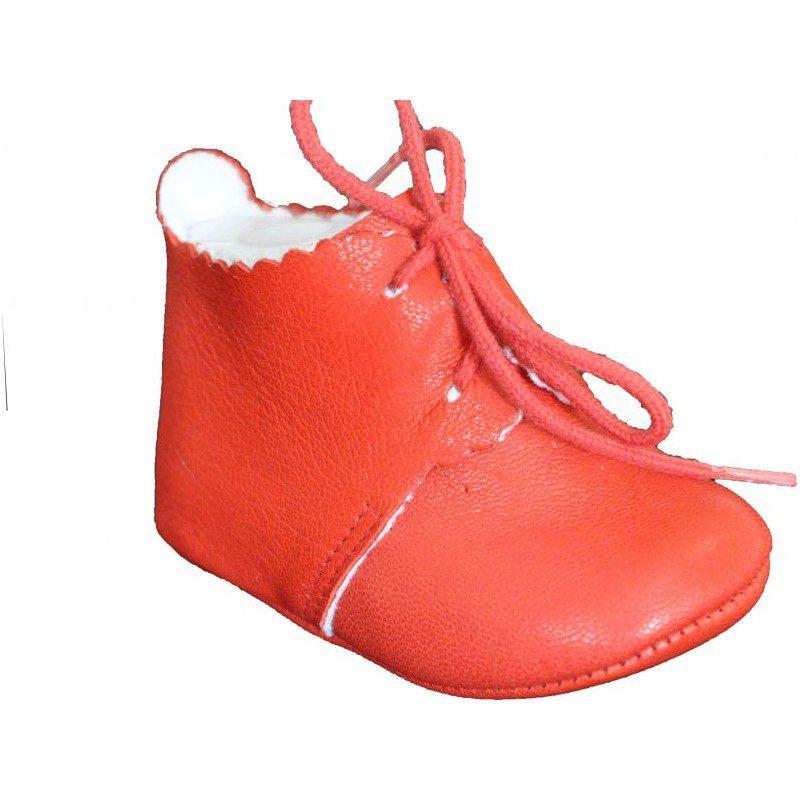 Pantofiori rosii cu siret din piele naturala