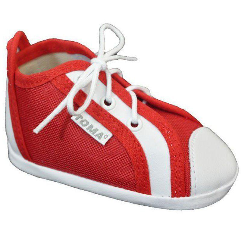 Pantofiori bebelusi rosii cu siret