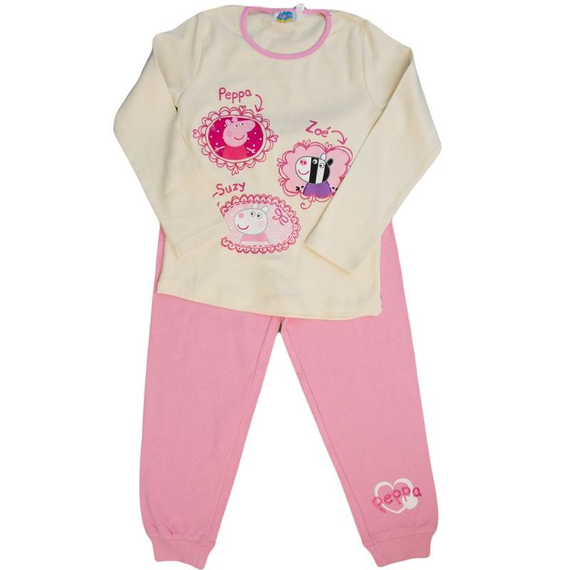 Pijamale fete Peppa, crem roz, marimi 4-8 ani