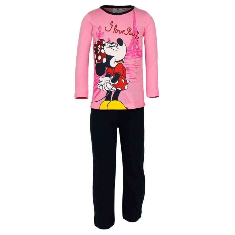 Pijamale Minnie roz/negru, marimi 3-8 ani