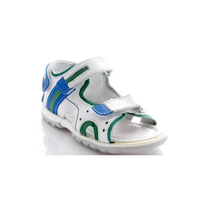 Sandale copii piele alb blu