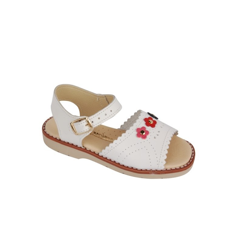 Sandale fete albe cu floricele, marimi 22,24