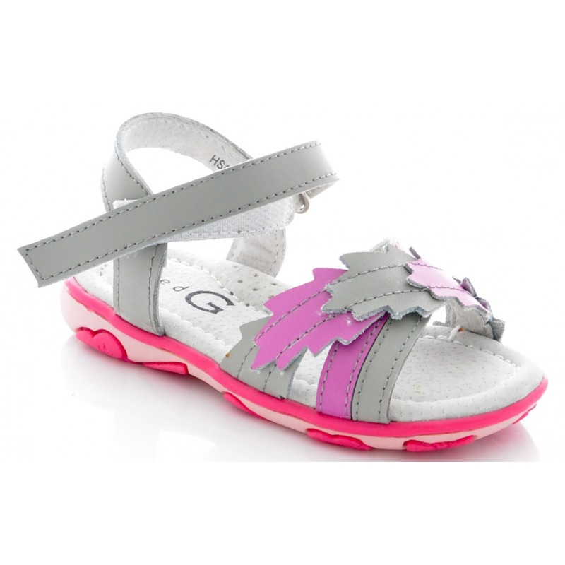 Sandale fete piele Red G roz gri, marimi 23,25