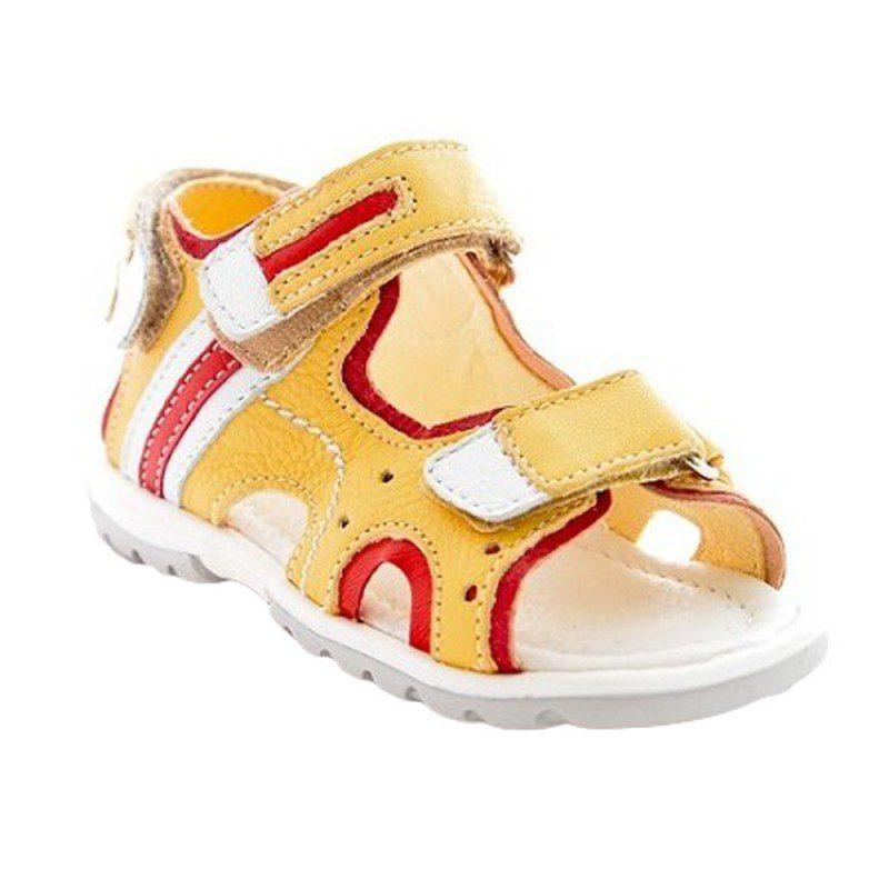 Sandale piele copii galben rosu