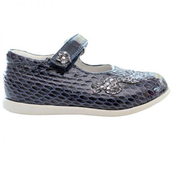 Pantofi fetite piele blu cu inimioare argintii