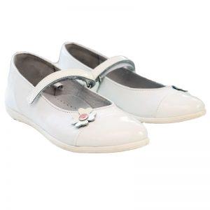 Pantofi fete piele Cherry alb Pj Shoes