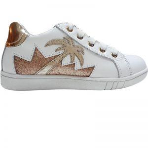 Pantofi copii sport piele Tino alb auriu 30-35
