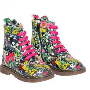 Ghetute fete piele King print Pj Shoes, marimea 20