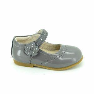 Pantofiori copii din piele naturala gri 20-26