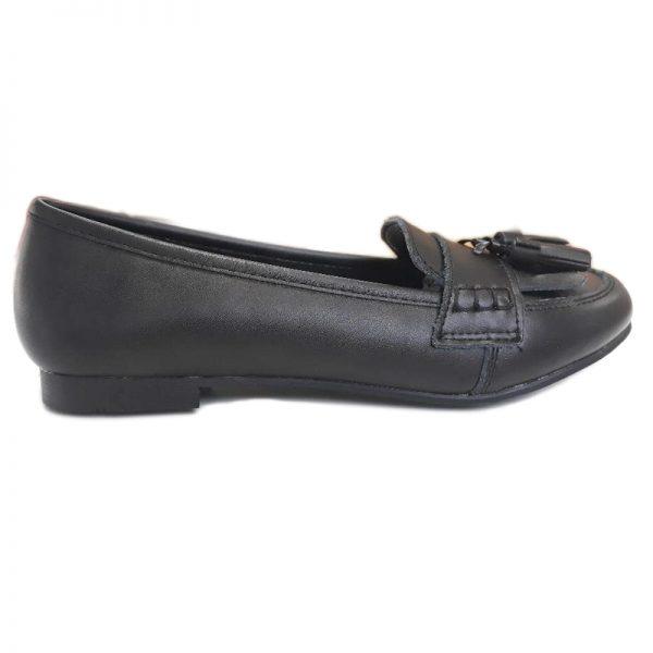 Pantofi negri fete pentru scoala din piele naturala 33-39