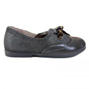 Pantofi fete din piele naturala gri