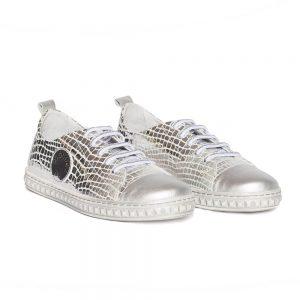 Tenisi fete Tag argintiu din piele naturala Pj Shoes